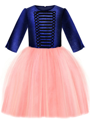 Navy Velvet Top and Pink Tutu Tin Soldier Girls Dress - LAZY FRANCIS - Shop in store at 406 Kings Road, Chelsea, London or shop online at www.lazyfrancis.com