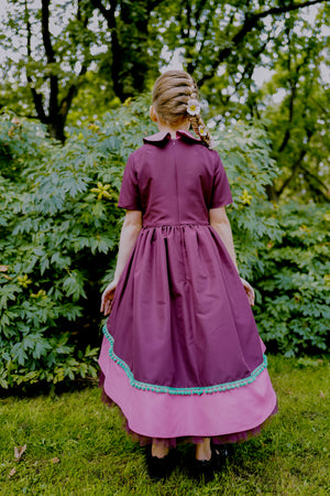 Eccentric Bordo High-Low Girls Dress with Pink & Green Details and Tulle Underskirt