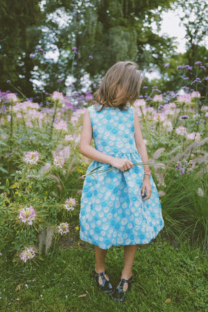 Sky Blue Bubble Jacquard Girls Dress