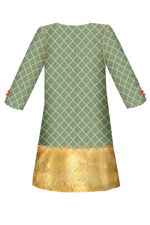 Green Jacquard Trapeze Dress with Gold Faux Leather Hem and Bow at the Neck and Gold Piping - LAZY FRANCIS - Shop in store at 406 Kings Road, Chelsea, London or shop online at www.lazyfrancis.com