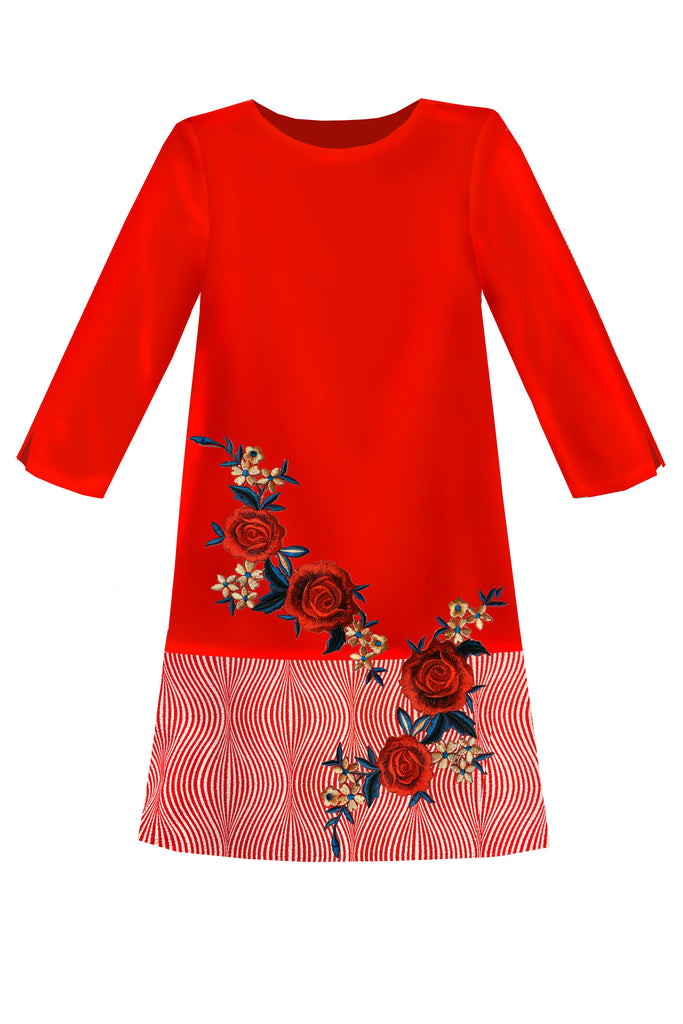 Red Satin Straight Girls Dress with Rose Embroidery - LAZY FRANCIS - Shop in store at 406 Kings Road, Chelsea, London or shop online at www.lazyfrancis.com