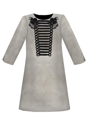 Grey Jacquard Trapeze Girls Dress with Black Gem Stones & Hussar Embroidery - LAZY FRANCIS - Shop in store at 406 Kings Road, Chelsea, London or shop online at www.lazyfrancis.com