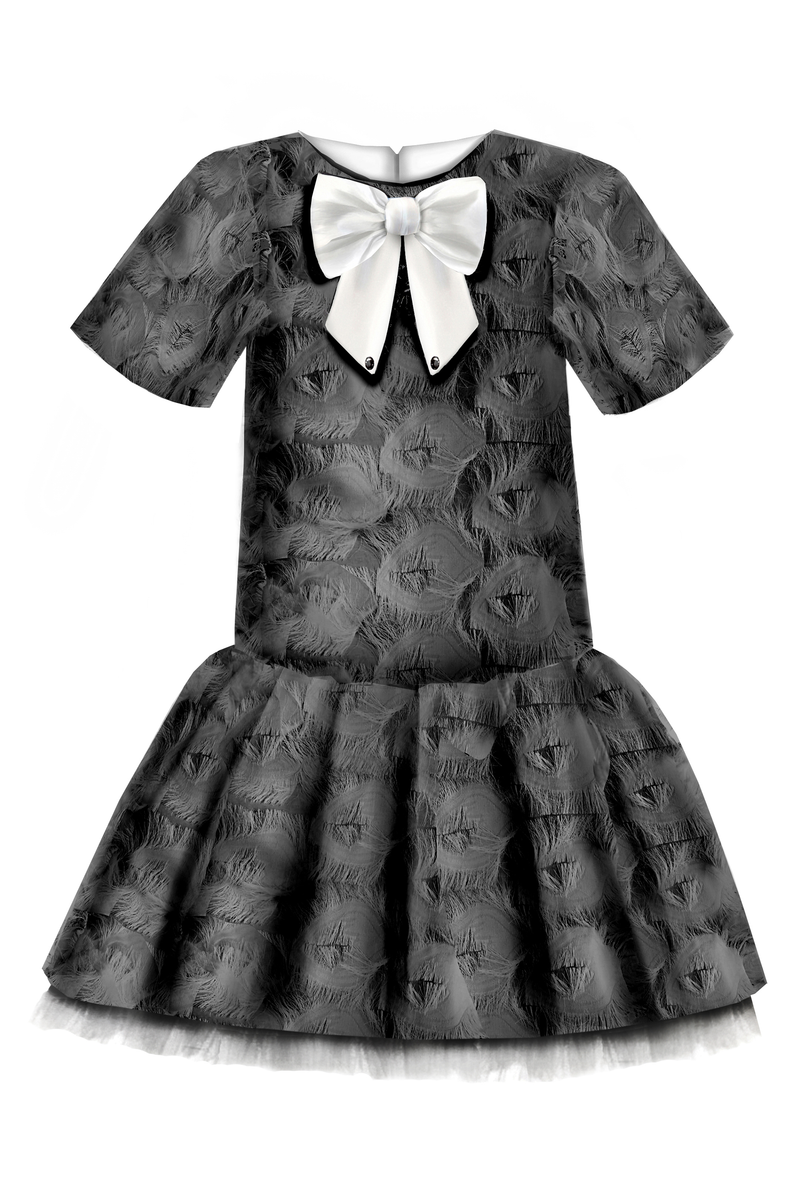 Black & White Fluffy Girls Trapeze Dress with White Bow and Tulle Underskirt ⋆Limited Edition