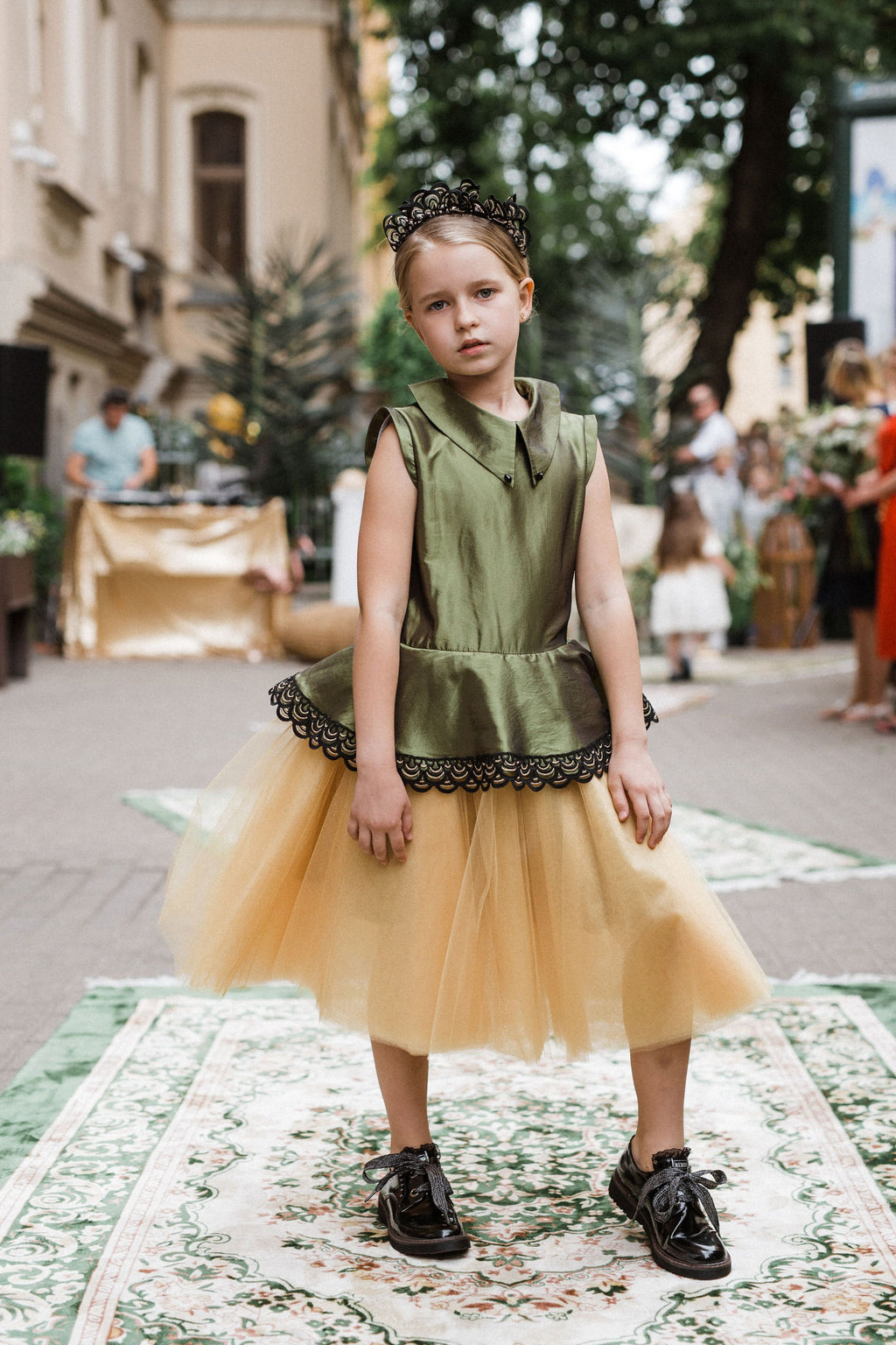 Olive & Gold Taffeta Peplum Girls Tutu Dress with Lace