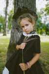 Elegant Black & Ivory Taffeta Girls High-Low Dress with Detachable Pleated Collar and White Bird Lace Details ⋆Limited