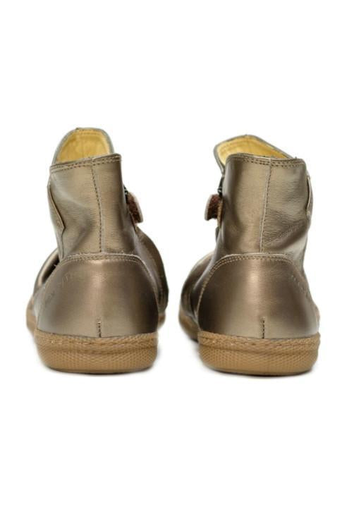 Bronze School Pleats Girls Leather Boots - Pom D'Api - LAZY FRANCIS - Shop in store at 406 Kings Road, Chelsea, London or shop online at www.lazyfrancis.com