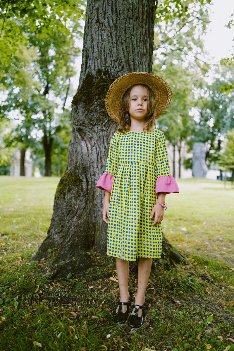 Yellow & Blue Polka Dot Girls Dress with Rose and Pink Ruffle Details