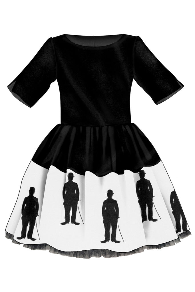 Black Full Dress with Exclusive Charlie Chaplin Print and Tulle Underskirt
