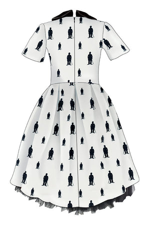 LIMITED EDITION! Exclusive White Cotton High-Low Dress with Charlie Chaplin Silhouette - LAZY FRANCIS - Shop in store at 406 Kings Road, Chelsea, London or shop online at www.lazyfrancis.com