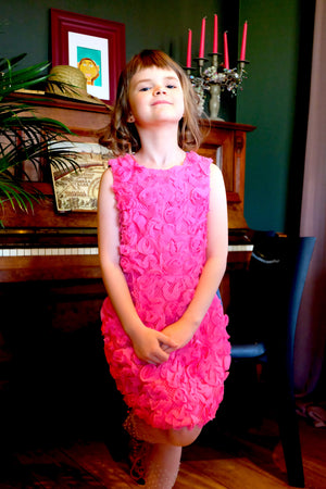 Limited Edition Flower Girl's Pink Jacquard & Denim Marcelle Pencil Dress - LAZY FRANCIS - Shop in store at 406 Kings Road, Chelsea, London or shop online at www.lazyfrancis.com