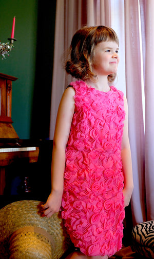 Flower Girl's Pink Jacquard & Denim Marcelle Pencil Dress - LAZY FRANCIS - Shop in store at 406 Kings Road, Chelsea, London or shop online at www.lazyfrancis.com