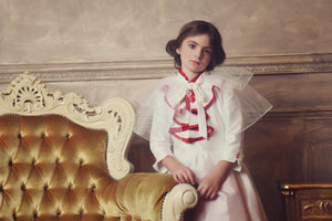 Elisabeth Flared Girls Dress in White and Red Taffeta with Detachable Collar - LAZY FRANCIS - Shop in store at 406 Kings Road, Chelsea, London or shop online at www.lazyfrancis.com