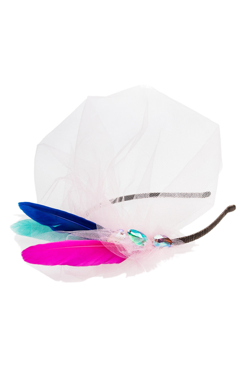 Light Pink Exotic Bird Feather Headband - LAZY FRANCIS - Shop in store at 406 Kings Road, Chelsea, London or shop online at www.lazyfrancis.com