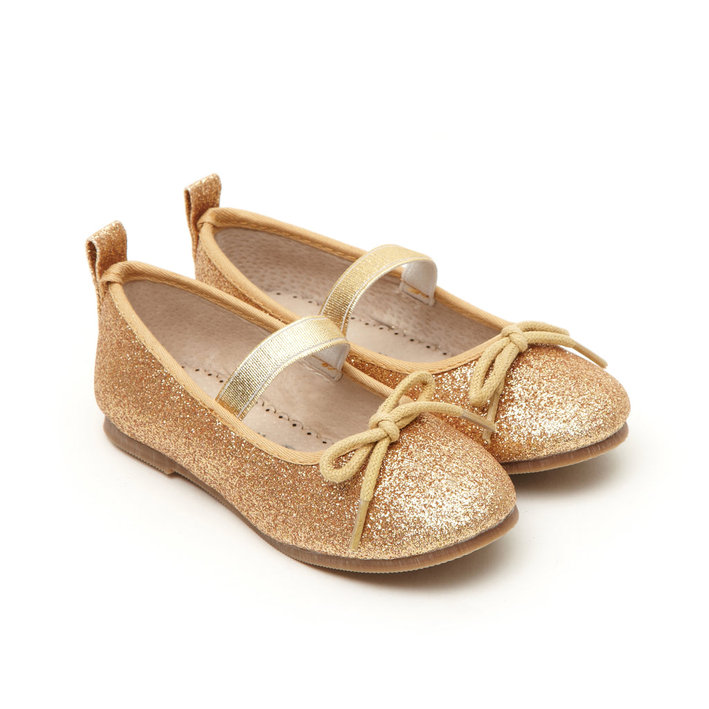 Angel's Face Gold Glitter Toddler Girls Ballet Pump Shoes - LAZY FRANCIS - Shop in store at 406 Kings Road, Chelsea, London or shop online at www.lazyfrancis.com