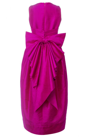 Fuchsia Raw Silk Maxi Couture Girls Dress - LAZY FRANCIS - Shop in store at 406 Kings Road, Chelsea, London or shop online at www.lazyfrancis.com