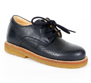Navy Blue Leather Unisex Lace Up Shoe - Angulus - LAZY FRANCIS - Shop in store at 406 Kings Road, Chelsea, London or shop online at www.lazyfrancis.com