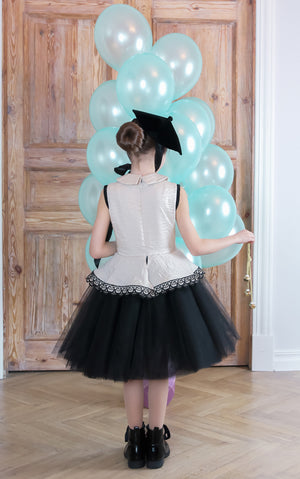 ⋆Limited Edition⋆ White Crinkle Taffeta Girls Peplum Tutu Dress with Black Unique Black Lace Details - LAZY FRANCIS - Shop in store at 406 Kings Road, Chelsea, London or shop online at www.lazyfrancis.com