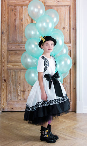 NEW! White Monaco Taffeta Dress with Black Lace and Tulle Petticoats