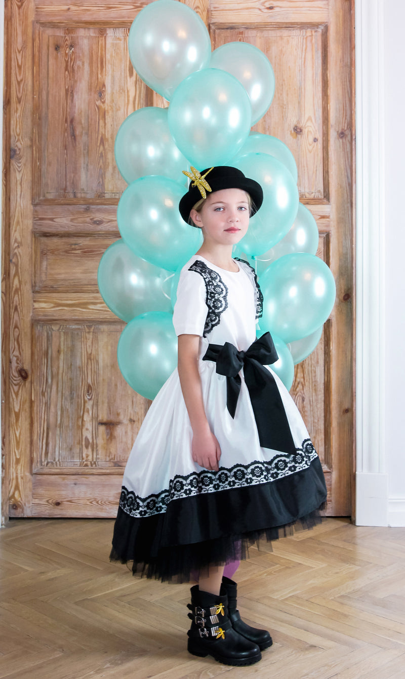 NEW! Off White Monaco Taffeta Dress with Black Lace and Tulle Petticoats