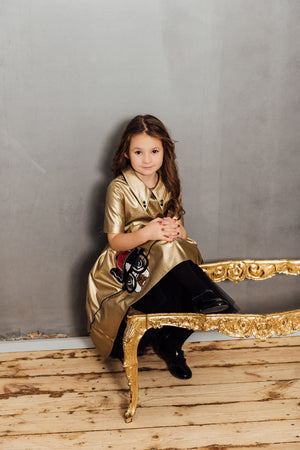 Gold Faux Leather High-Low Girls Dress with Dog Appliqué - LAZY FRANCIS - Shop in store at 406 Kings Road, Chelsea, London or shop online at www.lazyfrancis.com