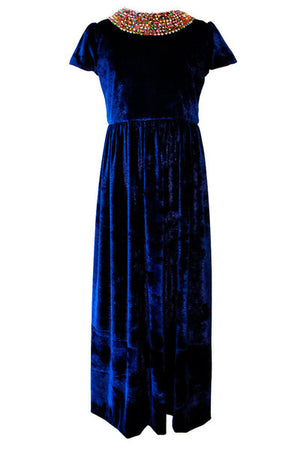 Royal Blue Velvet Maxi Dress - LAZY FRANCIS - Shop in store at 406 Kings Road, Chelsea, London or shop online at www.lazyfrancis.com