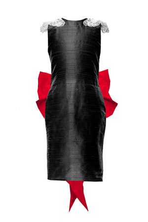 lazy francis Black and Red Silk Butterfly Pencil Couture Dress