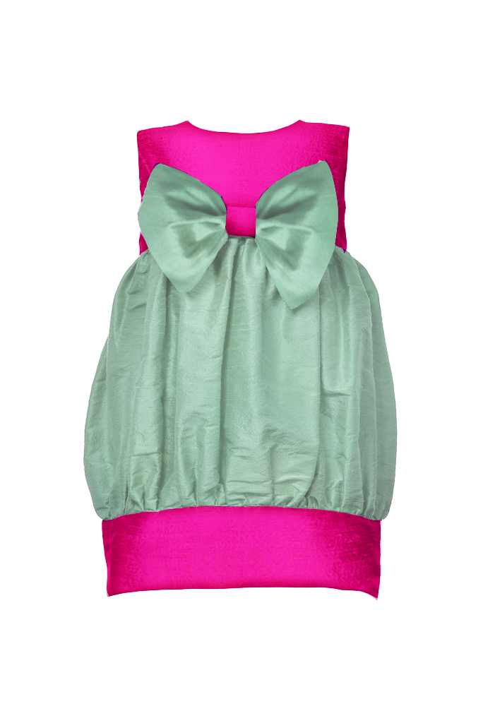 Sweet Lily Puff Toddler Dress in Aquamarine and Fuchsia
