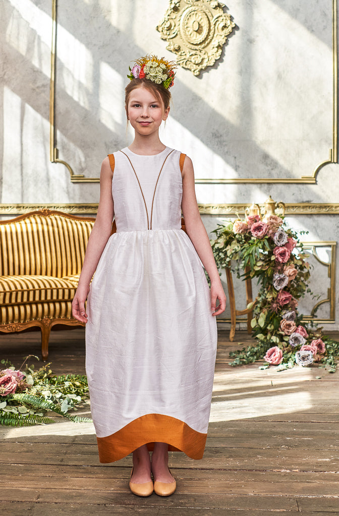 Jasmine White and Gold Raw Silk Maxi Girls Dress - LAZY FRANCIS - Shop in store at 406 Kings Road, Chelsea, London or shop online at www.lazyfrancis.com