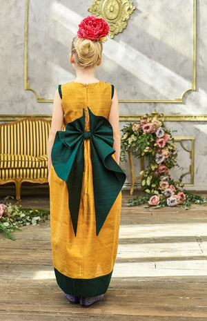 Jasmine Light Gold and Green Raw Silk Maxi Girls Dress - LAZY FRANCIS - Shop in store at 406 Kings Road, Chelsea, London or shop online at www.lazyfrancis.com