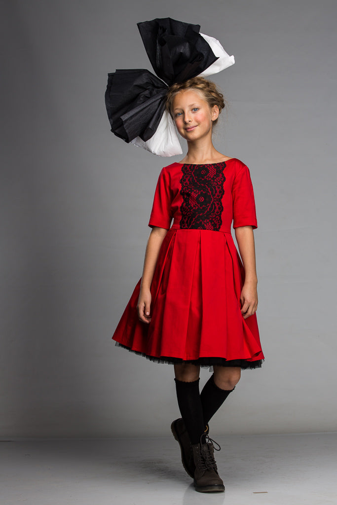 Girls Red Full Dress with Black Lace, Bow and Tulle Underskirt