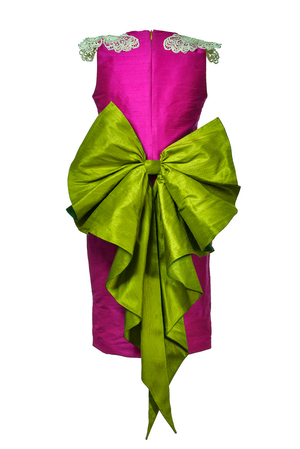 Oasis Butterfly Pencil Couture Girls Dress in Fuchsia Raw Silk