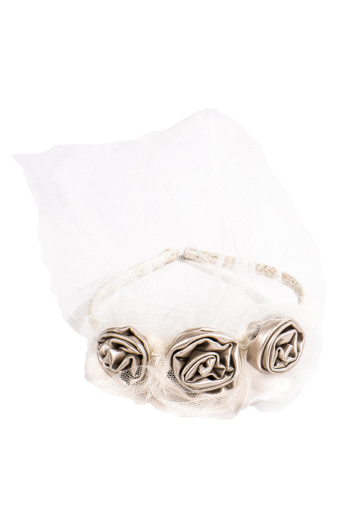 Lustre Silver Triple Rose Headband - LAZY FRANCIS - Shop in store at 406 Kings Road, Chelsea, London or shop online at www.lazyfrancis.com
