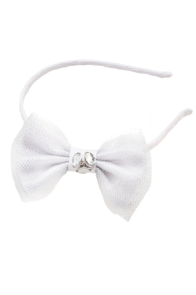 Classic Flower White Bow Headband - LAZY FRANCIS - Shop in store at 406 Kings Road, Chelsea, London or shop online at www.lazyfrancis.com
