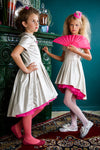 Silver Faux Eco Leather High-Low Girls Dress with Hot Pink Tulle