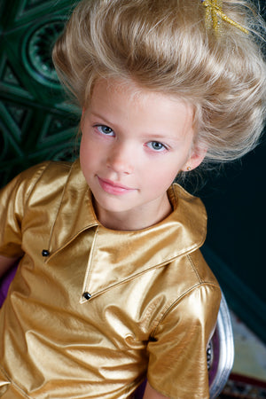 Gold Faux Leather High-Low Girls Dress - LAZY FRANCIS - Shop in store at 406 Kings Road, Chelsea, London or shop online at www.lazyfrancis.com