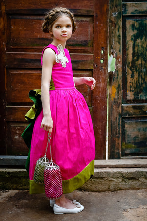Scheherazade Fuchsia and Green Raw Silk Couture Maxi Girls Dress - LAZY FRANCIS - Shop in store at 406 Kings Road, Chelsea, London or shop online at www.lazyfrancis.com