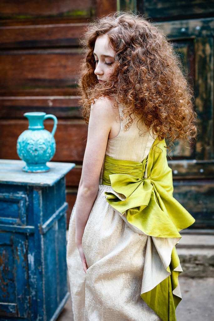 Harmony Aquamarine and Gold Raw Silk Maxi Girls Dress with Stone Appliqué - LAZY FRANCIS - Shop in store at 406 Kings Road, Chelsea, London or shop online at www.lazyfrancis.com