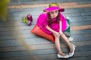 Fuchsia Raw Silk Visor - LAZY FRANCIS - Shop in store at 406 Kings Road, Chelsea, London or shop online at www.lazyfrancis.com