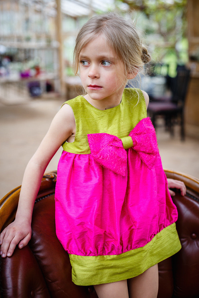 Sweet Lily Puff Toddler Dress in Fuchsia and Muscat Green Silk