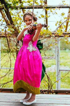 Scheherazade Fuchsia and Green Raw Silk Couture Maxi Girls Dress