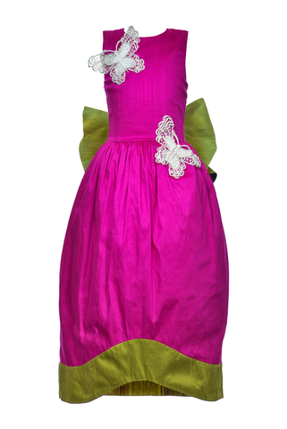 Fuchsia Raw Silk Maxi Couture Dress
