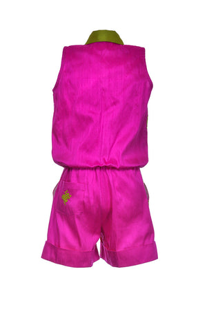 Fuchsia Silk Magic Frog Jumpsuit - LAZY FRANCIS - Shop in store at 406 Kings Road, Chelsea, London or shop online at www.lazyfrancis.com