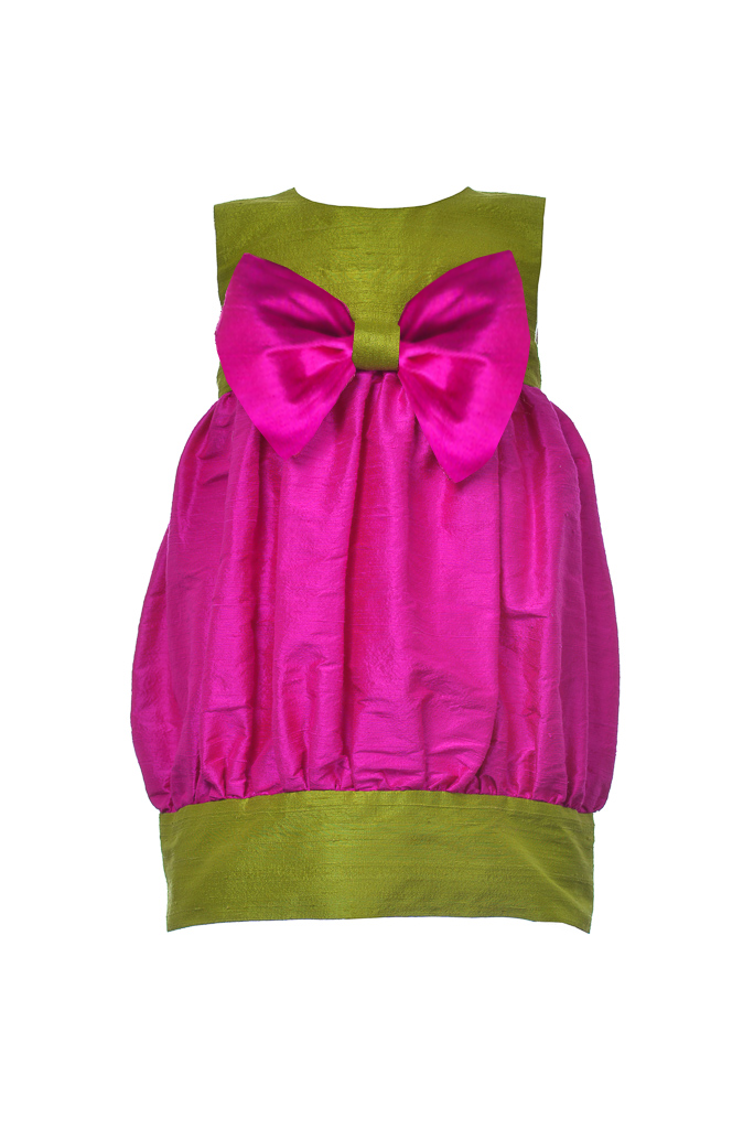 Sweet Lily Puff Toddler Dress in Fuchsia and Muscat Green Silk - LAZY FRANCIS - Shop in store at 406 Kings Road, Chelsea, London or shop online at www.lazyfrancis.com