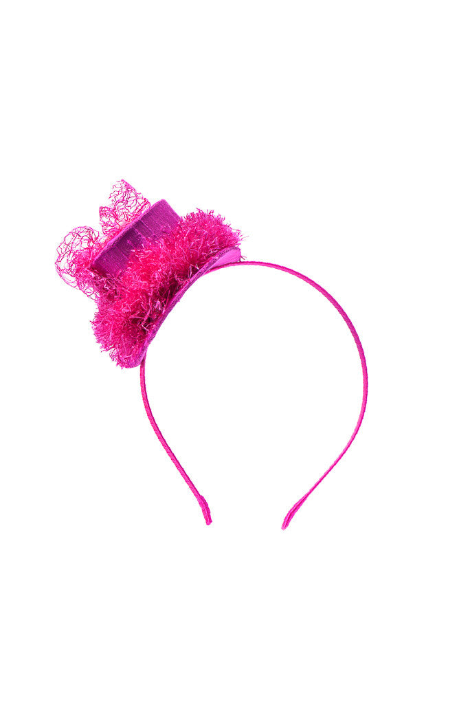 Fuchsia Raw Silk Enchanted Hat Headband - LAZY FRANCIS - Shop in store at 406 Kings Road, Chelsea, London or shop online at www.lazyfrancis.com