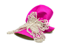 Fuchsia Raw Silk Butterfly Wristband - LAZY FRANCIS - Shop in store at 406 Kings Road, Chelsea, London or shop online at www.lazyfrancis.com