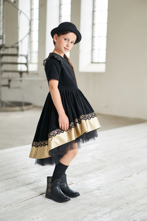 Black High-Low Corduroy Girls Dress with Gold Faux Leather Hem and Lace