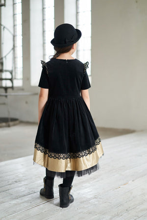 Black High-Low Corduroy Girls Dress with Gold Faux Leather Hem and Lace - LAZY FRANCIS - Shop in store at 406 Kings Road, Chelsea, London or shop online at www.lazyfrancis.com