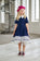 Navy Blue Taffeta High-Low Girls Dress with White French Lace