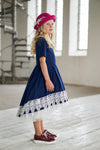 Navy Blue Taffeta High-Low Girls Dress with White French Lace - LAZY FRANCIS - Shop in store at 406 Kings Road, Chelsea, London or shop online at www.lazyfrancis.com