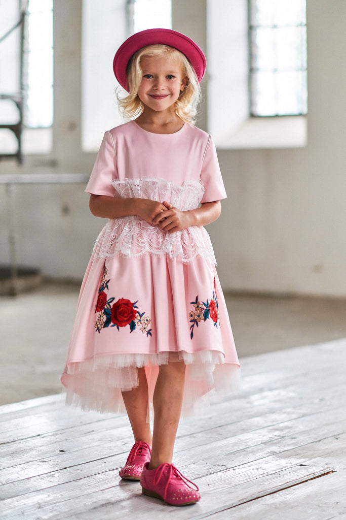 Pink Satin High-Low Dress with White French Lace and Rose Embroidery - LAZY FRANCIS - Shop in store at 406 Kings Road, Chelsea, London or shop online at www.lazyfrancis.com